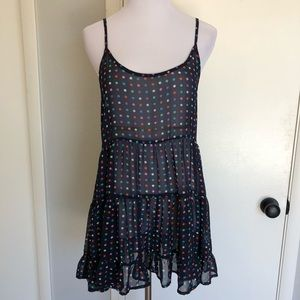 Polka Dot + Navy Ruffle Hem Chiffon Dress